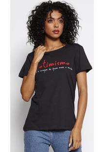 Camiseta Com Inscrição - Preta & Brancaforum