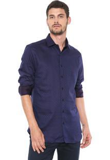 Camisa Dudalina Reta Poá Azul-Marinho