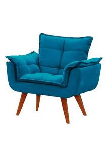 Poltrona Decorativa Opala Azul Turquesa Pé Palito Meunovolar