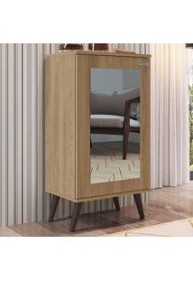 Estante Para Livros 1 Porta Com Espelho 3 Prateleiras Est120 Oak - Completa Móveis
