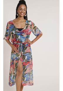 Vestido Saída De Praia Feminino Estampado De Folhagens Com Fenda Manga 3/4 Azul Claro