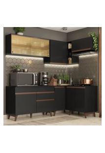 Cozinha Completa De Canto Madesa Reims 332002 Com Armário E Balcão Preto Preto