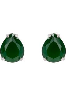Brinco Gota The Ring Boutique Pedra Cristal Verde Esmeralda Ródio Ouro Branco