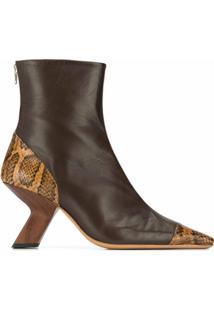 Rejina Pyo Ankle Boot Marley Com Estampa Pele De Cobra - Marrom