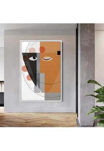 Quadro 150X100Cm Abstrato Geomã©Trico Oriental Masuku Moldura Flutuante Filete Branca - Multicolorido - Dafiti
