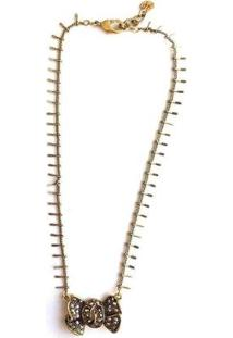 Colar Armazem Rr Bijoux Cristal Swarovski Laço - Feminino-Dourado