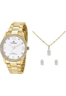Relógio Feminino Champion Analógico Cn29043W Com Acessório - Feminino-Dourado