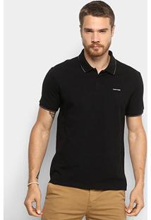 Camisa Polo Calvin Klein Slim Masculina - Masculino-Preto