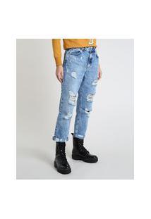 Calça Jeans Feminina Mom Cropped Cintura Super Alta Destroyed Azul Médio