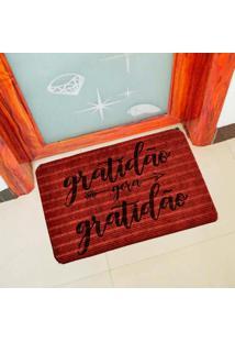 Capacho Carpet Gratidão Gera Gratidão Vermelho