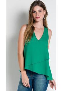 Blusa Verde Babado Colcci