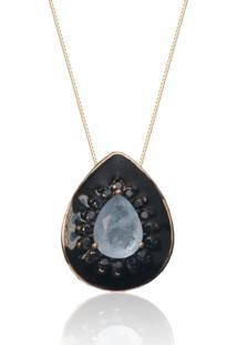 Colar Kris Mayer Esmaltado Gota Com Pedra Cor Agata Azul Folheado A Ouro 18K