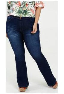 Calça Femnina Jeans Flare Plus Size Biotipo