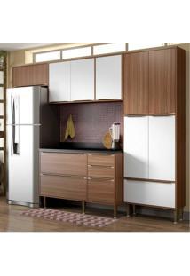 Cozinha Completa Multimóveis Com 5 Peças Calábria 5458 Nogueira/Branco