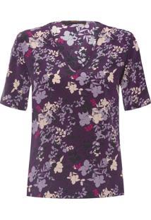 Blusa Feminina Decote V Profundo Floral - Roxo