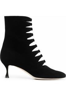 Manolo Blahnik Ankle Boot Com Detalhe De Botões - Preto