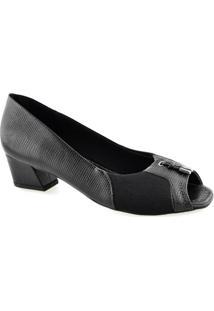 Sapato Peep Toe Joanetes Salto Robusto Usaflex S6558