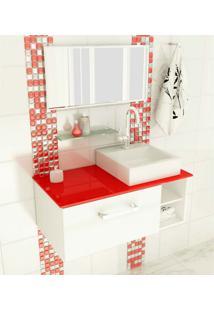 Gabinete Com Cuba E Espelho Felix 1 Pt Branco E Vermelho 80 Cm