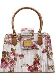 Bolsa Victor Valencia Ombro Estampada Floral