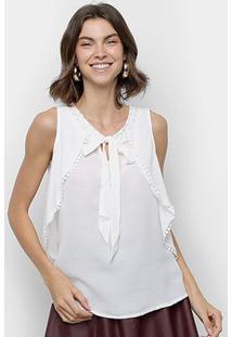 Blusa Ms Fashion Sobreposição Decote Vazado Costas Feminina - Feminino-Branco