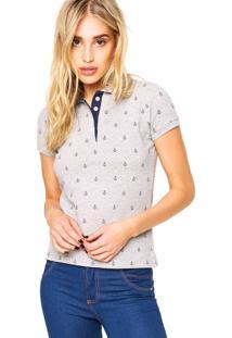 Camisa Pólo Cinza Conforto feminina  83ef269cdbab5