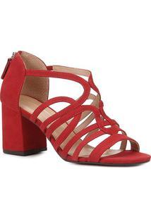 Sandália Couro Shoestock Nobuck Tiras Salto Médio Feminina - Feminino-Vermelho