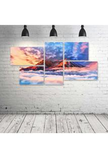Quadro Decorativo - Illustration-Artwork-Sky-Mountains - Composto De 5 Quadros