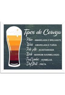 Quadro Decorativo Tipos De Cerveja Branco - Médio