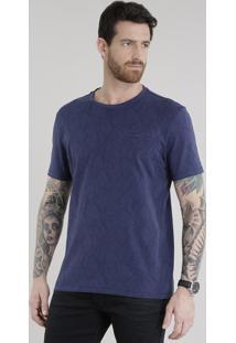 Camiseta Estampada De Folhagem Com Bolso Azul Marinho
