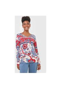 Blusa Tricot Desigual Barrie Off-White/Azul