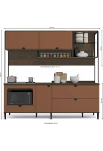 Cozinha Compacta Com Tampo 4 Peças Pop Kappesberg Jacarandá/Terracota
