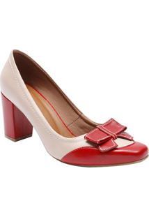 583046410 ... Sapato Tradicional Em Couro Com Laço- Vermelho Escuro & Le Rossi