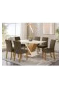 Mesa De Jantar Solus C/ 6 Cadeiras Vita - Nature/Off White/Marrom Claro