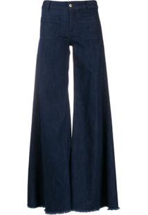Dondup Calça Jeans Flare Desfiada - Azul