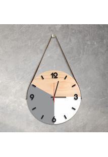 Relógio De Parede Decorativo Adnet Cinza E Branco Com Números Em Relevo Médio