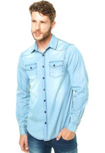 Camisa Jeans Benetton Estonada Azul