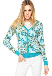 Cardigan Rovitex Floral Azul/Branco