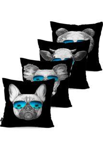 Kit Com 4 Capas Para Almofadas Pump Up Decorativas Preto Animais Fashion 45X45Cm