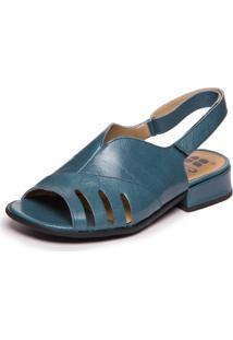 Sandalia Azul Feminina Com Salto Baixo - Riverside 7723