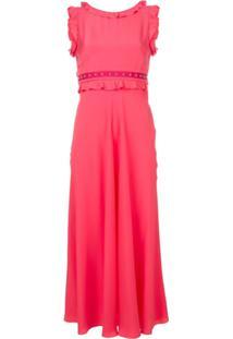 Red Valentino Vestido Midi Em Seda - Rosa
