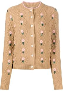 Shrimps Bennett Floral Embroidered Cardigan - Marrom