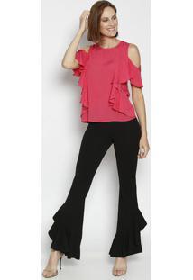 Blusa Com Ombros Vazados & Babados - Pink- Moisellemoisele