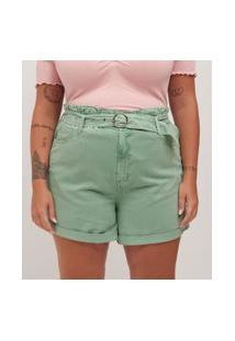Short Com Cinto Em Sarja Curve & Plus Size | Ashua Curve E Plus Size | Verde | 48