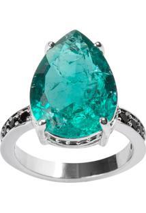 Anel Gota The Ring Boutique Pedra Cristal Turmalina Fusion Ródio Ouro Branco