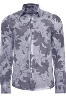 Camisa Masculina Dirty Floral - Cinza