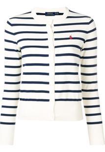 Polo Ralph Lauren Striped Knit Cardigan - Branco