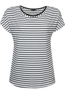 Blusa Dudalina Decote Careca Listrada Feminina (Off White, M)