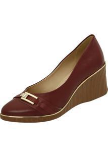 Sapato Anabela Com Aviamento - Bordã´ & Marrom Claro-Azaleia