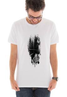Camiseta Manga Curta Touts Zebra Guache Branco