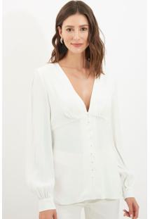 Camisa Le Lis Blanc Lucy Crepe 1 Off White Feminina (Off White, 48)